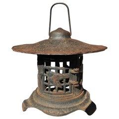 "Old Japan Blue Lantern ""Birds and Bamboo"" Motif"