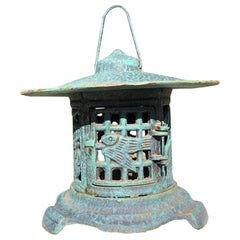 "Old Japan Blue Lantern ""Birds and Bamboo"" Motif"