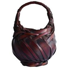 Old Japanese Bamboo Basket Meiji-Early Showa 1900-1940 / Bamboo Vase