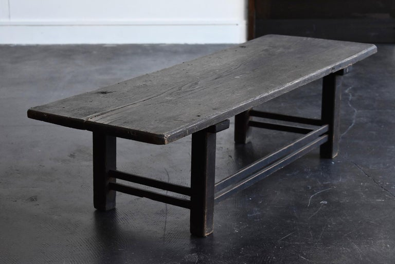 Old Japanese Chestnut Desk / Edo Period-Meiji Period / Coffee Table/ Low Table For Sale 5