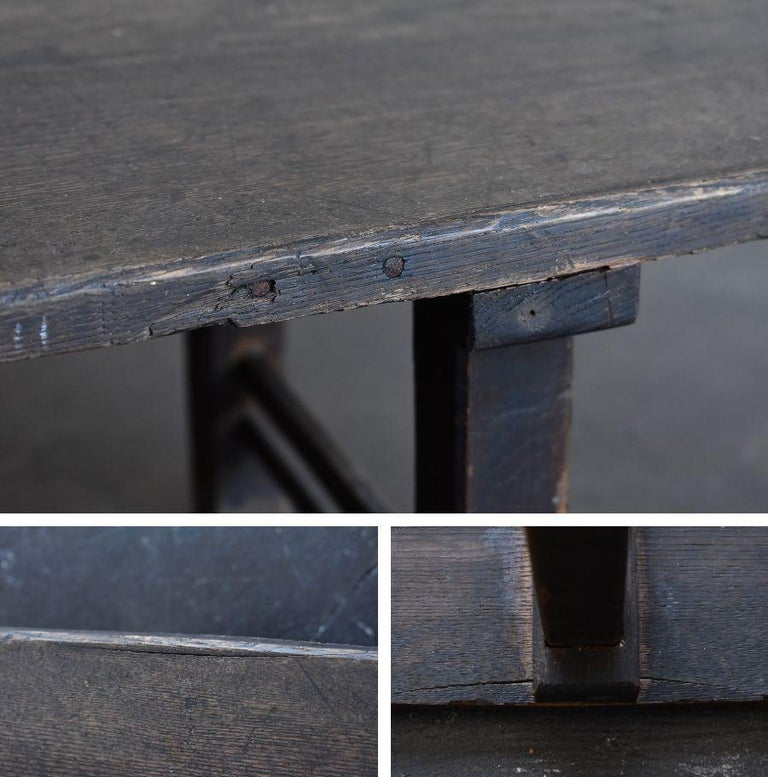 Old Japanese Chestnut Desk / Edo Period-Meiji Period / Coffee Table/ Low Table For Sale 8