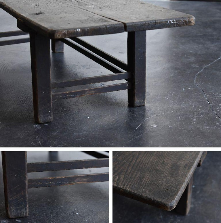 Old Japanese Chestnut Desk / Edo Period-Meiji Period / Coffee Table/ Low Table For Sale 10