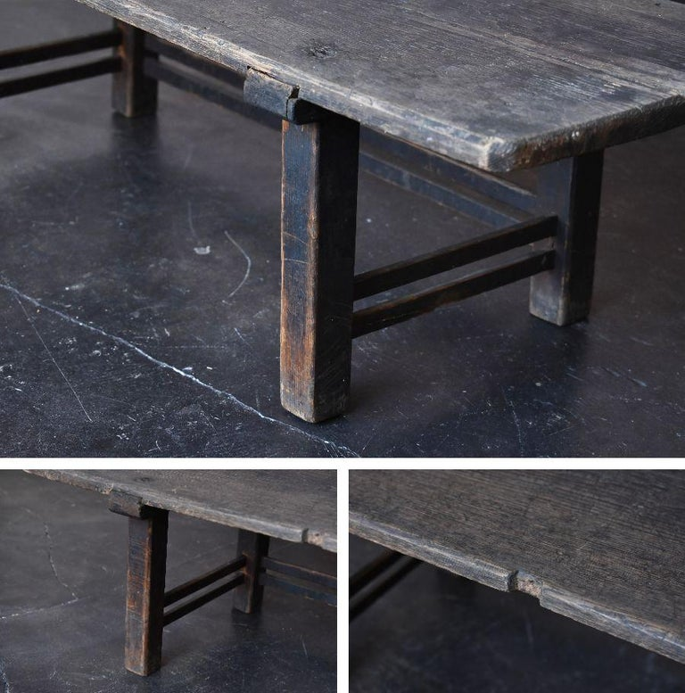Old Japanese Chestnut Desk / Edo Period-Meiji Period / Coffee Table/ Low Table For Sale 4