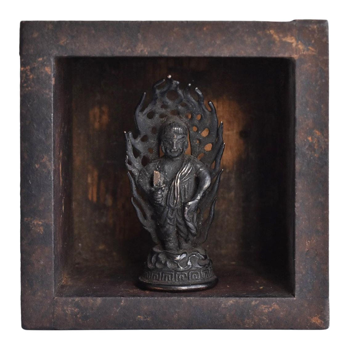 Old Japanese Copper Buddha Statue and Wooden Box / 16th-17th Centuries