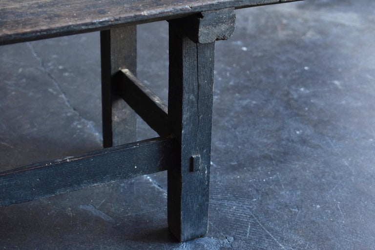 Old Japanese Desk Edo-Meiji Period '1800s' Chestnut Antique Table/Low Table For Sale 7