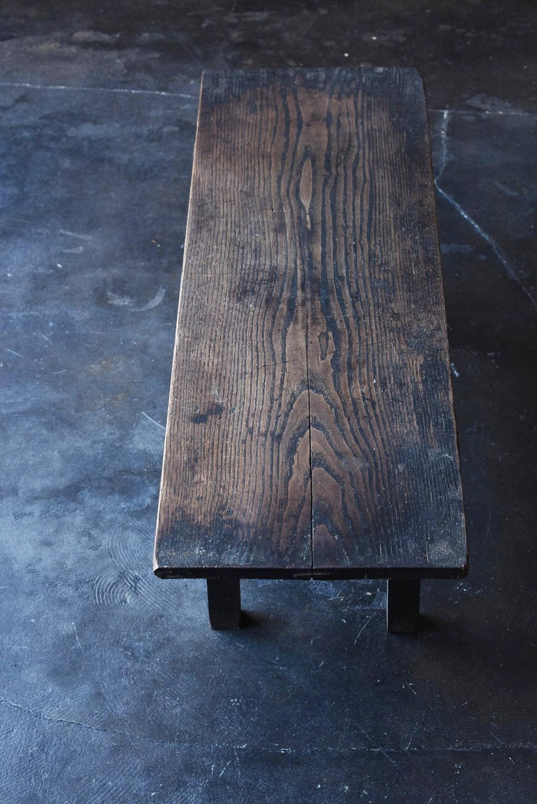 Woodwork Old Japanese Desk Edo-Meiji Period '1800s' Chestnut Antique Table/Low Table For Sale