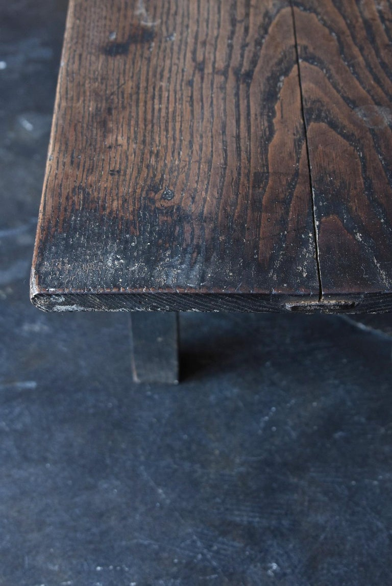 Old Japanese Desk Edo-Meiji Period '1800s' Chestnut Antique Table/Low Table For Sale 2
