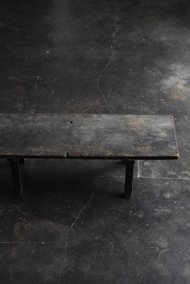 Woodwork Old Japanese Desk Edo Period '1700s-1800s' Zelkova Antique Table or Low Table