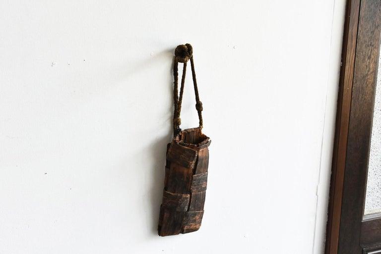 Old Japanese Folk Art / Farmer's Tools Made of Bark / Vase / Flower Basket For Sale 13