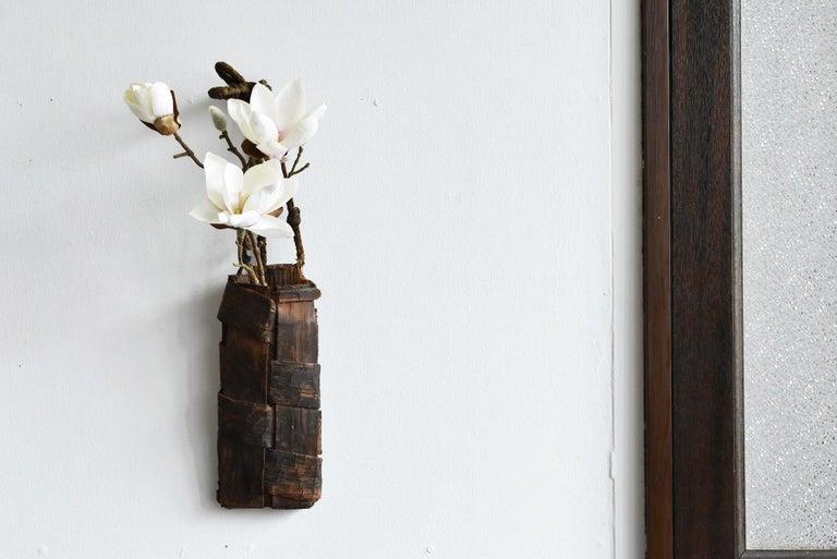 Woven Old Japanese Folk Art / Farmer's Tools Made of Bark / Vase / Flower Basket For Sale