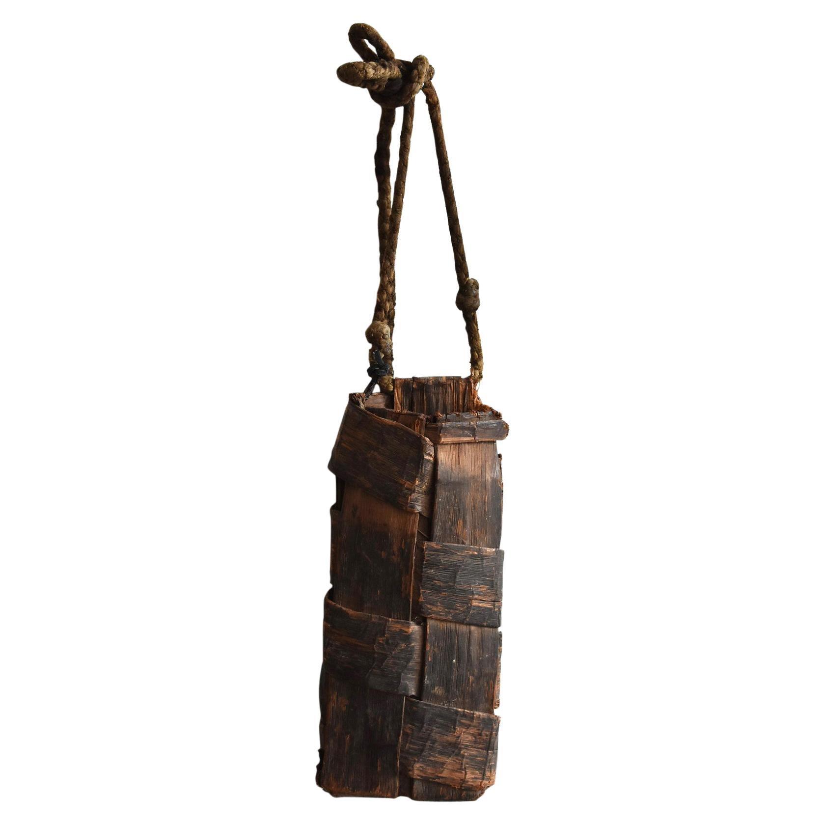 Old Japanese Folk Art / Farmer's Tools Made of Bark / Vase / Flower Basket