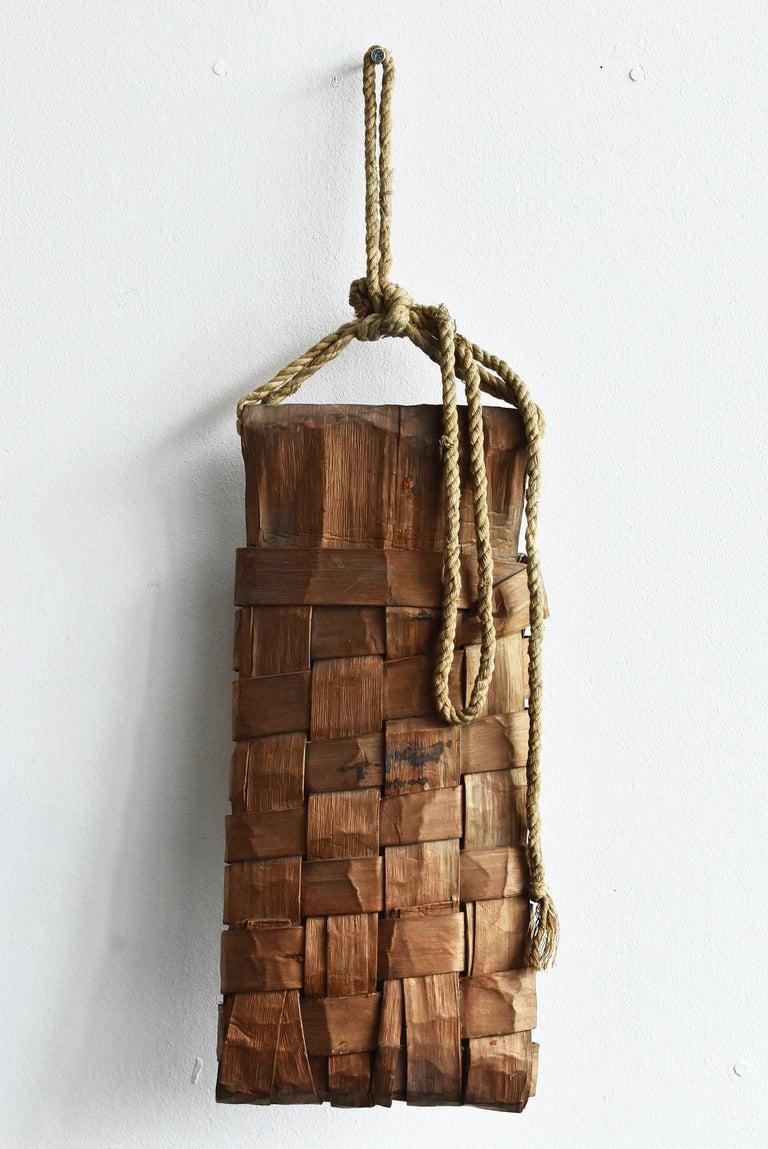 Old Japanese Folk Art / Farmer's Tools Made of Bark / Wall Hangings Vase For Sale 5