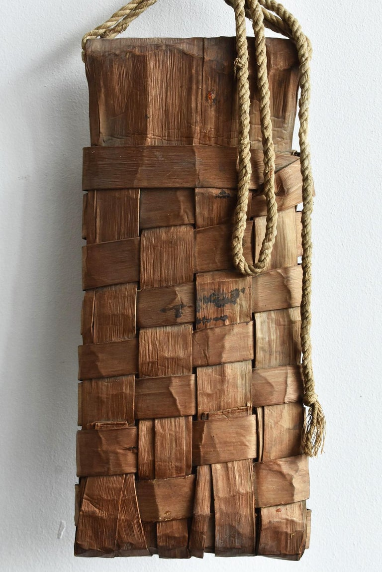 Old Japanese Folk Art / Farmer's Tools Made of Bark / Wall Hangings Vase For Sale 7
