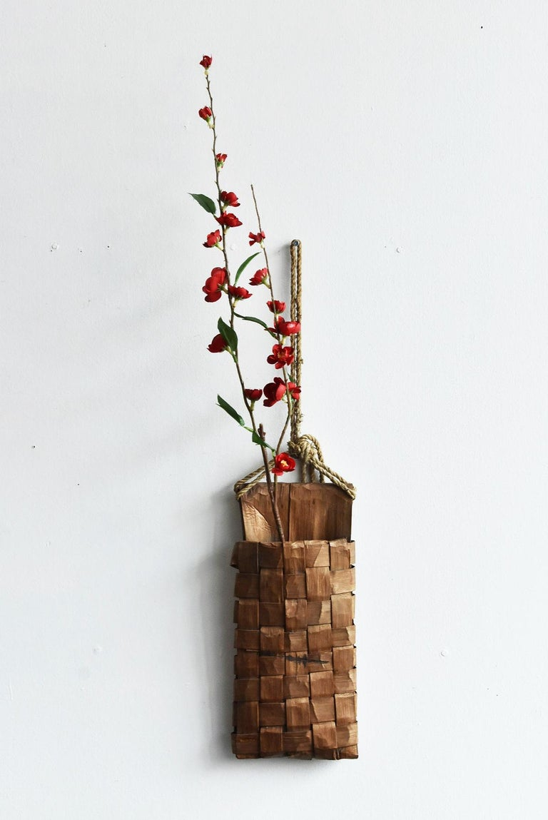 Old Japanese Folk Art / Farmer's Tools Made of Bark / Wall Hangings Vase For Sale 11