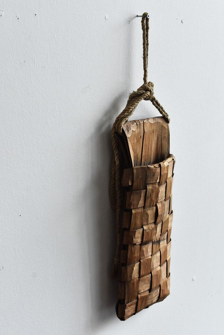 20th Century Old Japanese Folk Art / Farmer's Tools Made of Bark / Wall Hangings Vase For Sale