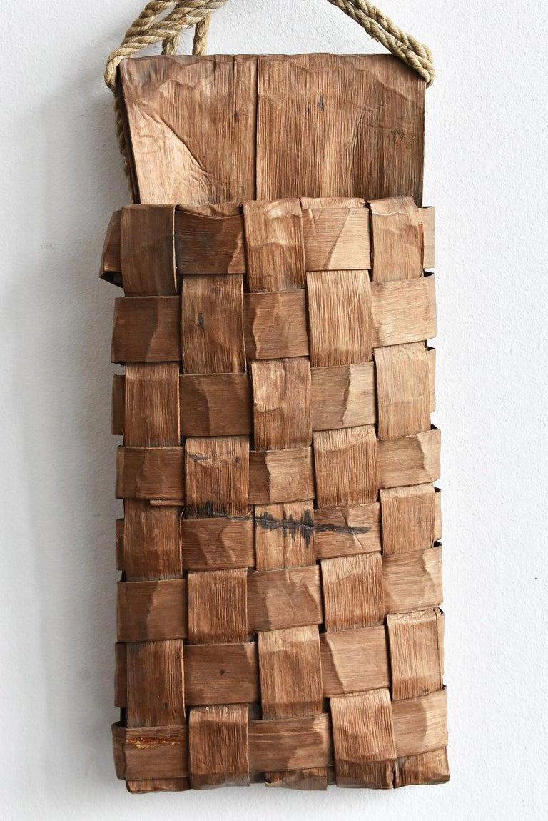 Old Japanese Folk Art / Farmer's Tools Made of Bark / Wall Hangings Vase For Sale 1