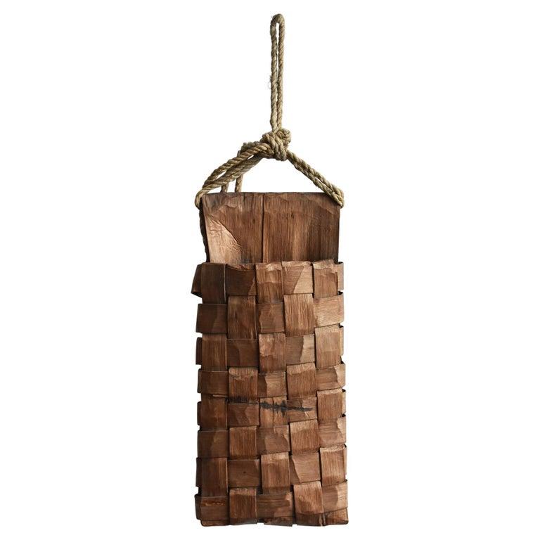 Old Japanese Folk Art / Farmer's Tools Made of Bark / Wall Hangings Vase For Sale