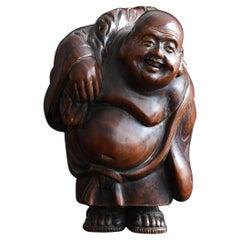 """Old Japanese God """"Ho-te-i"""", Wooden Sculpture, Antique Figurine, 1912-1950"""