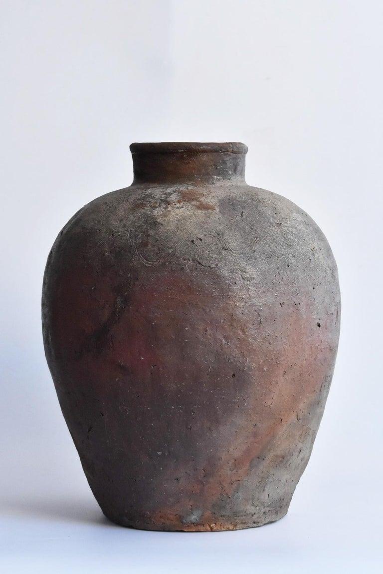Folk Art Old Japanese Vase 1400-1500 Mid-Muromachi Period Bizen Jar / Tsubo For Sale
