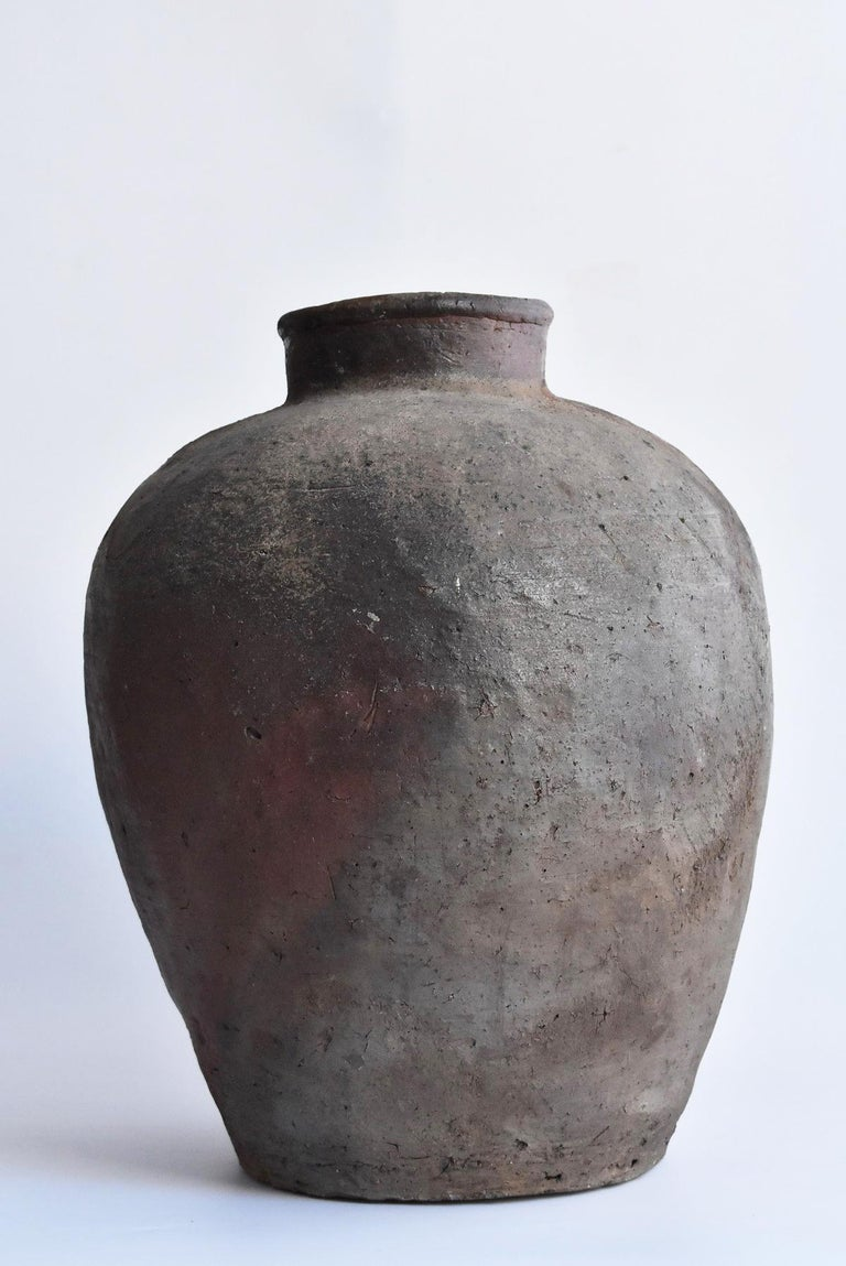 Hand-Crafted Old Japanese Vase 1400-1500 Mid-Muromachi Period Bizen Jar / Tsubo For Sale