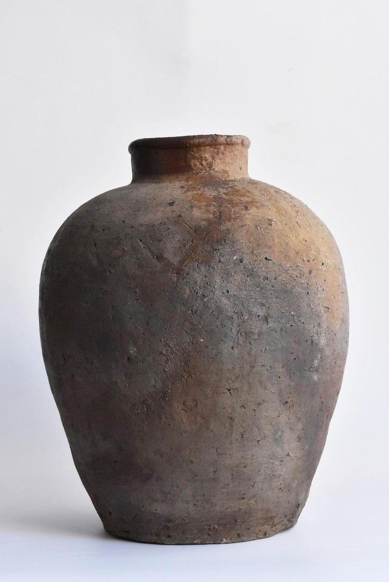 18th Century and Earlier Old Japanese Vase 1400-1500 Mid-Muromachi Period Bizen Jar / Tsubo For Sale