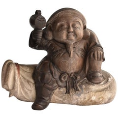 Old Japanese wooden Buddha Statue / Daikokuten 'Seven Lucky Gods' / Wood Carving