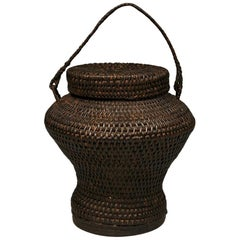 Old Jar-shaped Rice Storage Basket, Philippines, Early to Mid-20th Century