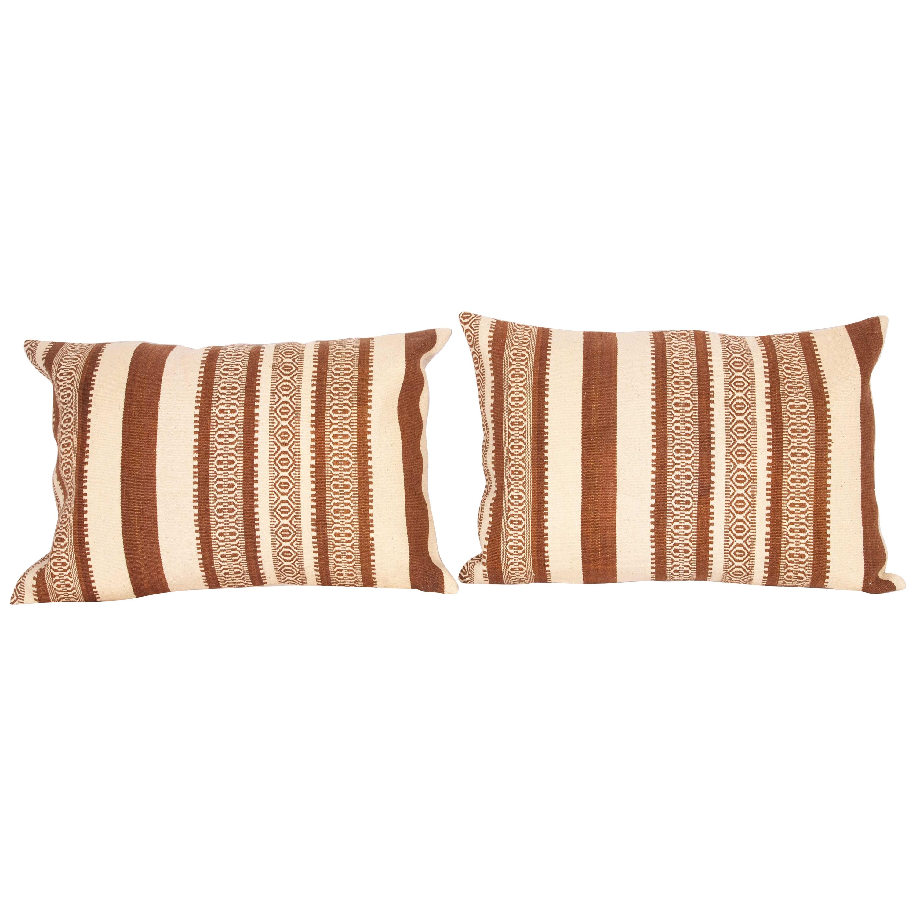 Old Kilim Pillow Cases Fashioned from a Vintage Anatolian Wool Kilim
