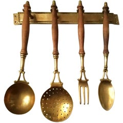Old Kitchen Utensils Made of Brass with from a Hanging Bar, Early 20th Century