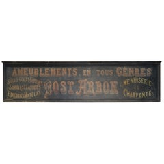 Old Large French Furniture and Carpenter Shop Sign, circa 1920
