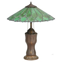 Old Leaded Green Glass Lamp with a Perfect Amount of Patina