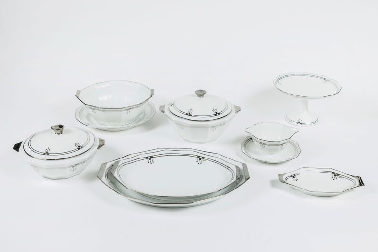 Here is an elegant old Limoges 'Unique' China set of 9 serving pieces in a bold Art Deco style - clean white china with shiny platinum edge design detailing. This set includes: covered casserole, tureen, serving bowl , sauce bowl, compote, round