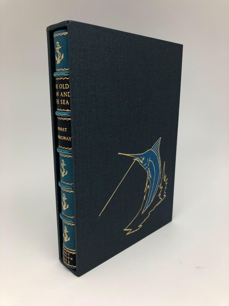 Hemingway, Ernest, The Old Man and the Sea. 1952, New York: Charles Scribner's Sons. First Edition. Rebound in blue Morocco leather with custom slipcase.