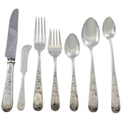 Old Maryland Engraved by Kirk Sterling Silver Flatware Service Set 82 Pc Mono N