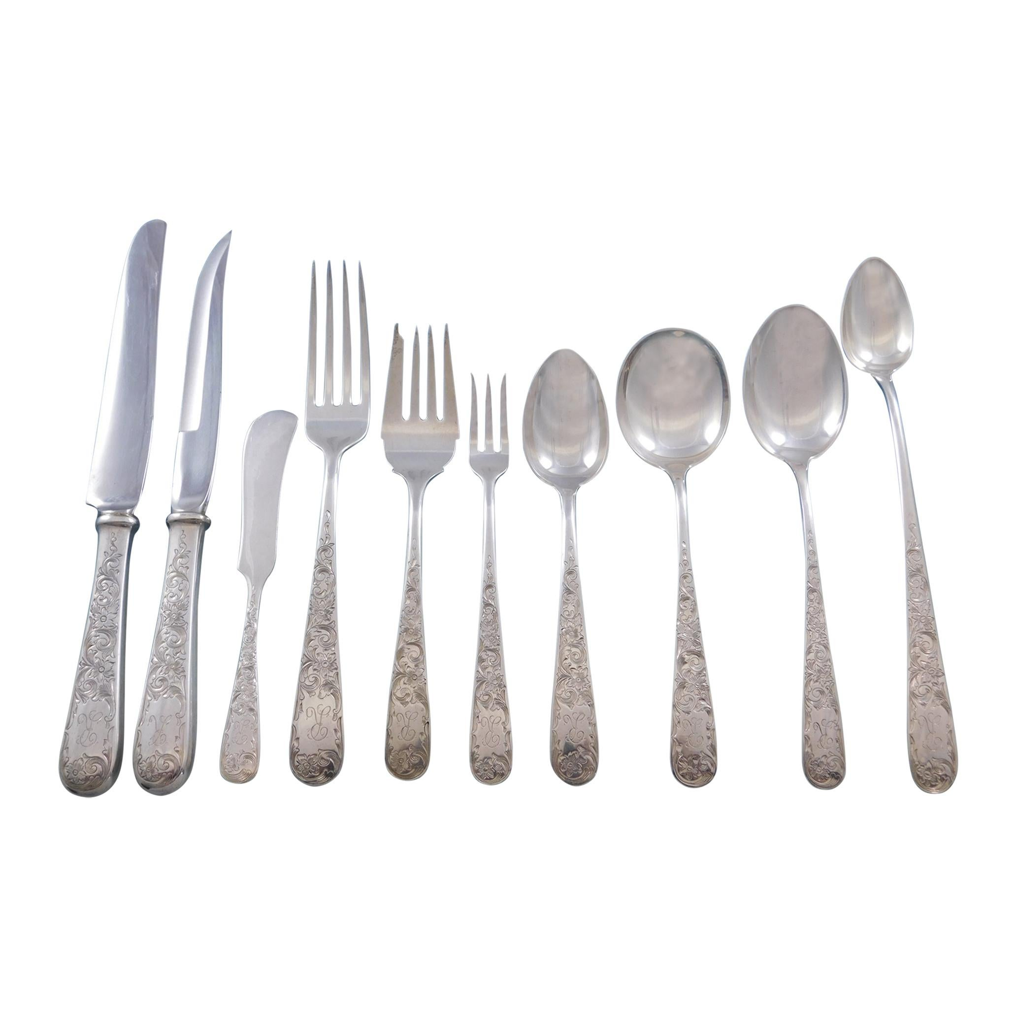 Old Maryland Engraved by Kirk Sterling Silver Flatware Set 143 Pcs Mono R Dinner