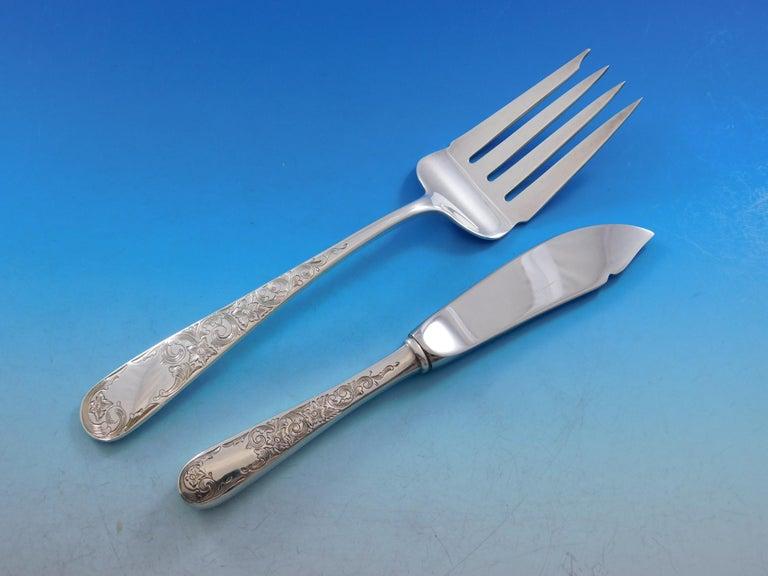 Old Maryland Engraved by Kirk Sterling Silver Flatware Set Service 78 Pcs Dinner For Sale 3