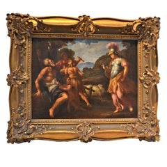 """Old Master Allegorical oil painting of """"Erminia and The Shepherds"""""""
