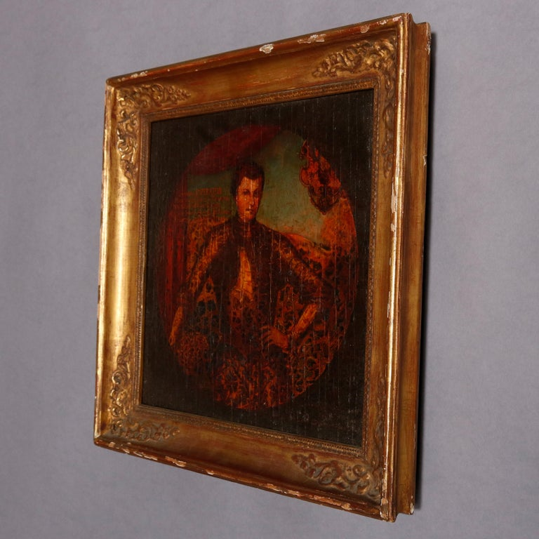 Old master oil on board Russian Czar Imperial portrait painting with verbiage within painting and en verso