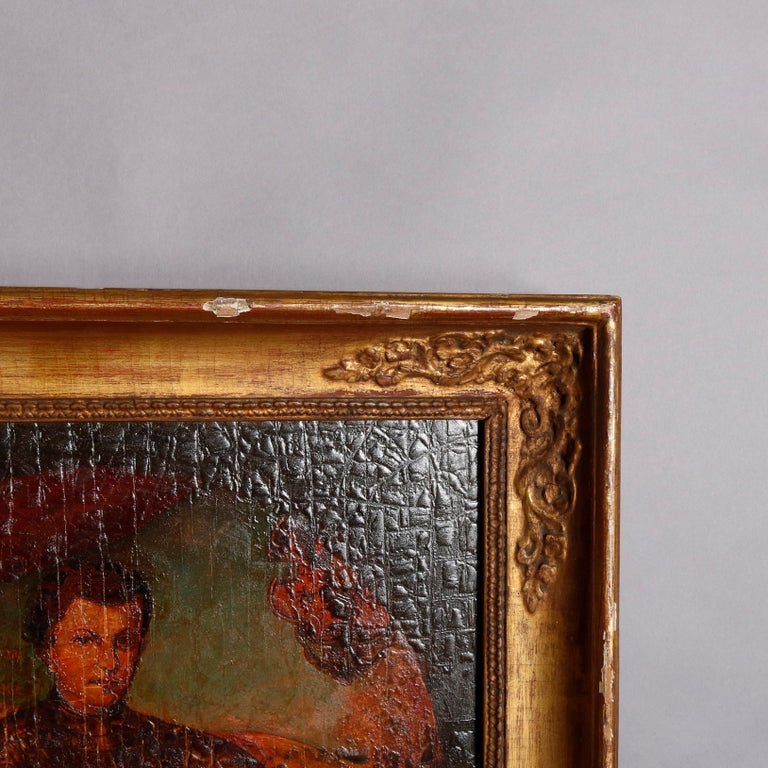 Giltwood Old Master Oil on Board Russian Imperial Portrait, Premier Faux-Dmitriy For Sale