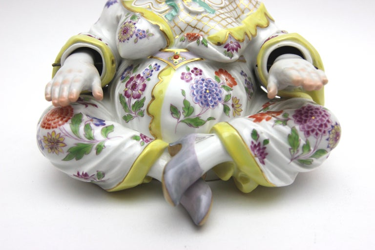 Hand-Painted Old Meissen Porcelain Figure as Wiggle Pagoda with Gold and Flower Painting For Sale