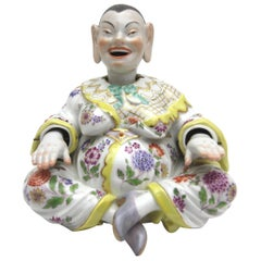 Old Meissen Porcelain Figure as Wiggle Pagoda with Gold and Flower Painting