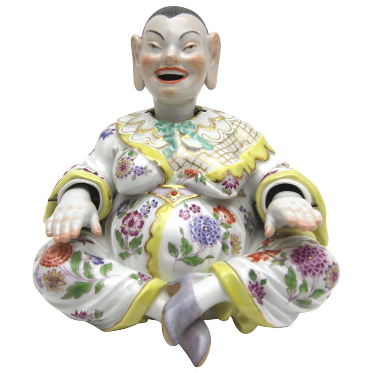 Old Meissen Porcelain Figure as Wiggle Pagoda with Gold and Flower Painting For Sale