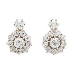 Old Mine 5.90 Carat Diamond Cluster Earrings Set in 18 Karat Gold