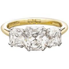 Old Mine Cushion Cut 3-Stone Diamond Ring 1.50, 0.70, 0.70 Carat by Hancocks