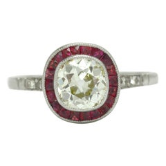 Antique Cushion Cut Diamond Engagement Ring 1.08 Ct Old Mine Ruby Art Deco Style