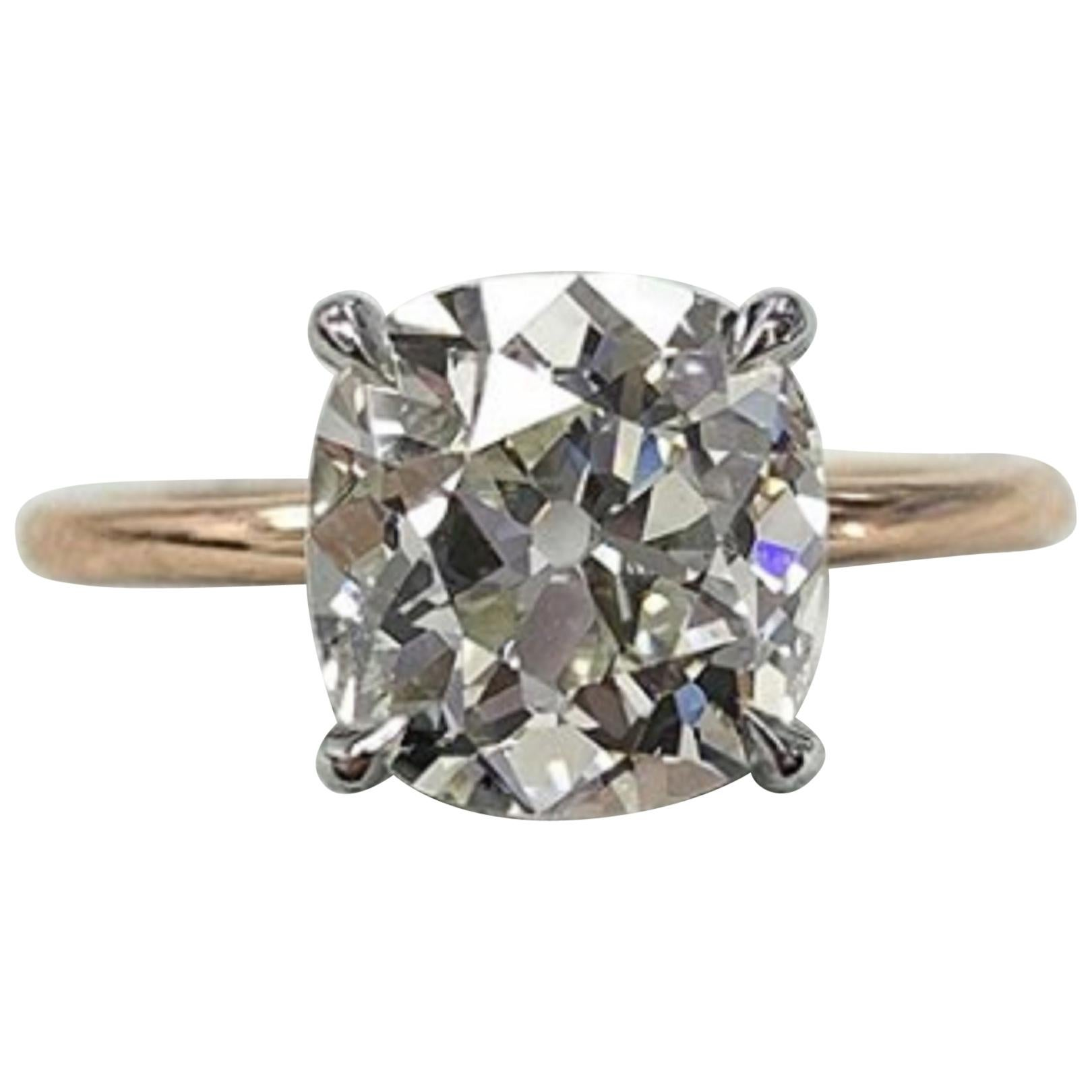 Old Mine 1 Carat Cushion Cut Solitaire Ring