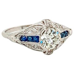 Old Mine Cut Diamond and Blue Sapphire Platinum Ring