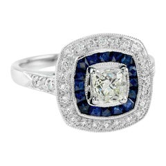 Old Mine Cut Diamond Blue Sapphire Diamond Cocktail Ring