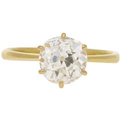 Old Mine Cut Diamond Engagement Ring Set in 18 Karat Yellow Gold