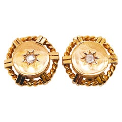 Old Mine Cut Diamond Gold Starburst Earring Studs in 14 Karat Gold, circa 1982